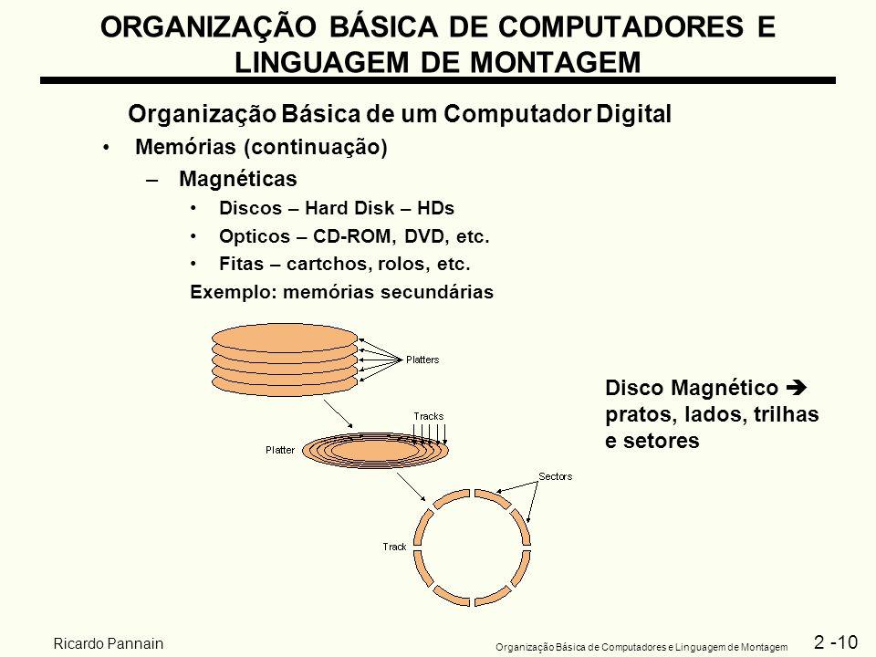 2 -10 Organização Básica de Computadores e Linguagem de Montagem Ricardo Pannain ORGANIZAÇÃO BÁSICA DE COMPUTADORES E LINGUAGEM DE MONTAGEM Organizaçã