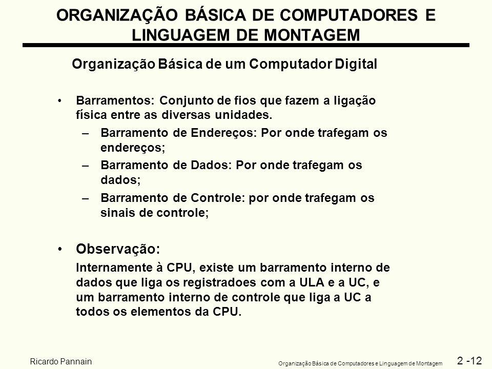 2 -12 Organização Básica de Computadores e Linguagem de Montagem Ricardo Pannain ORGANIZAÇÃO BÁSICA DE COMPUTADORES E LINGUAGEM DE MONTAGEM Organizaçã