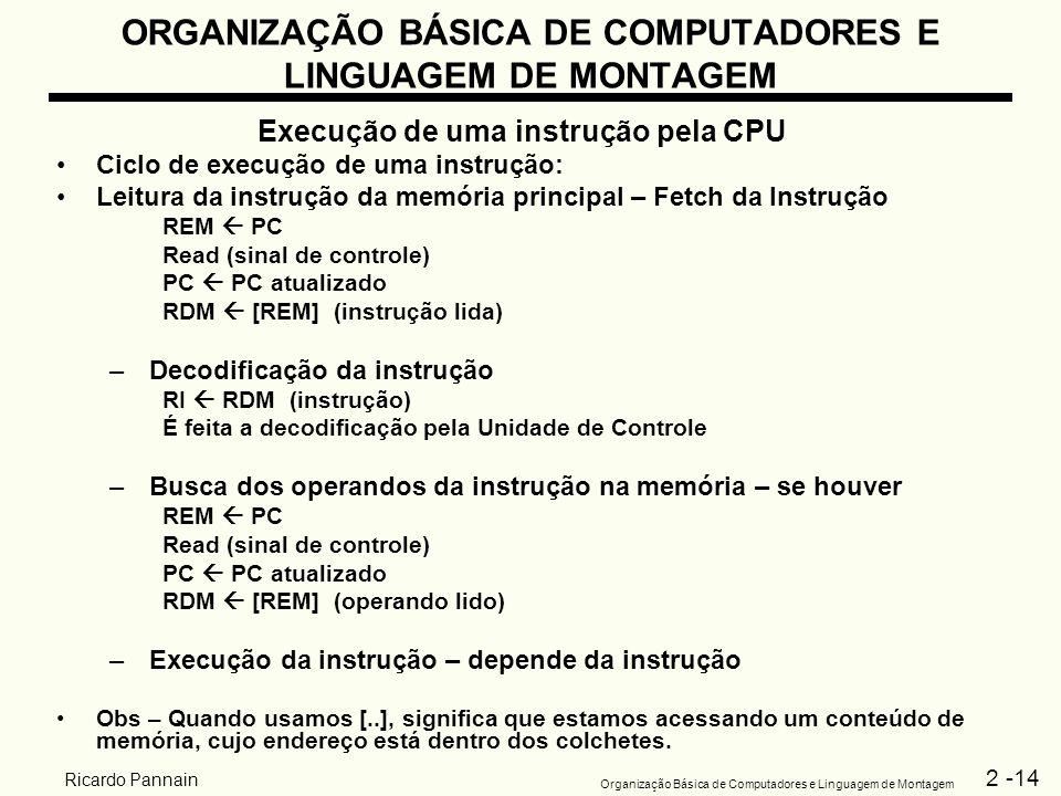 2 -14 Organização Básica de Computadores e Linguagem de Montagem Ricardo Pannain ORGANIZAÇÃO BÁSICA DE COMPUTADORES E LINGUAGEM DE MONTAGEM Execução d