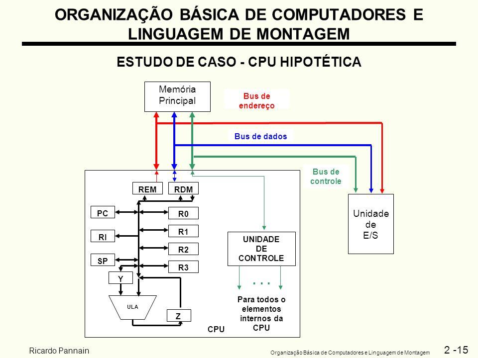 2 -15 Organização Básica de Computadores e Linguagem de Montagem Ricardo Pannain ORGANIZAÇÃO BÁSICA DE COMPUTADORES E LINGUAGEM DE MONTAGEM ESTUDO DE