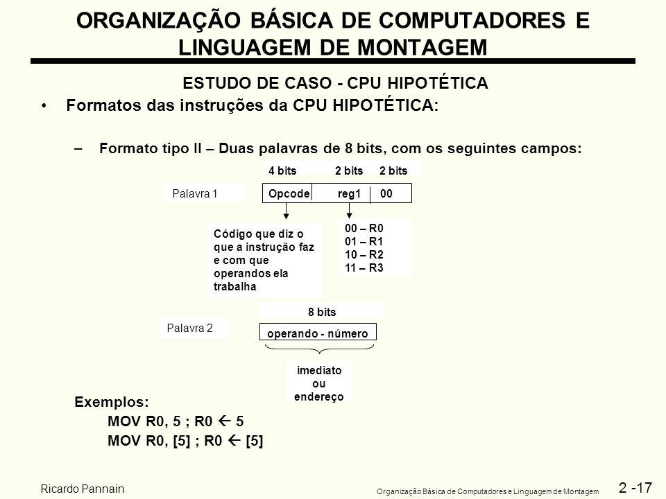 2 -17 Organização Básica de Computadores e Linguagem de Montagem Ricardo Pannain ORGANIZAÇÃO BÁSICA DE COMPUTADORES E LINGUAGEM DE MONTAGEM ESTUDO DE