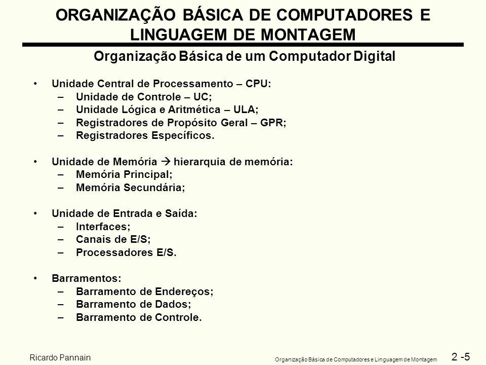 2 -5 Organização Básica de Computadores e Linguagem de Montagem Ricardo Pannain ORGANIZAÇÃO BÁSICA DE COMPUTADORES E LINGUAGEM DE MONTAGEM Organização