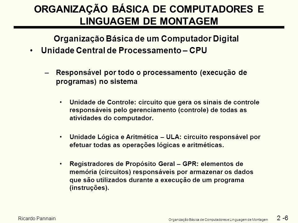 2 -6 Organização Básica de Computadores e Linguagem de Montagem Ricardo Pannain ORGANIZAÇÃO BÁSICA DE COMPUTADORES E LINGUAGEM DE MONTAGEM Organização