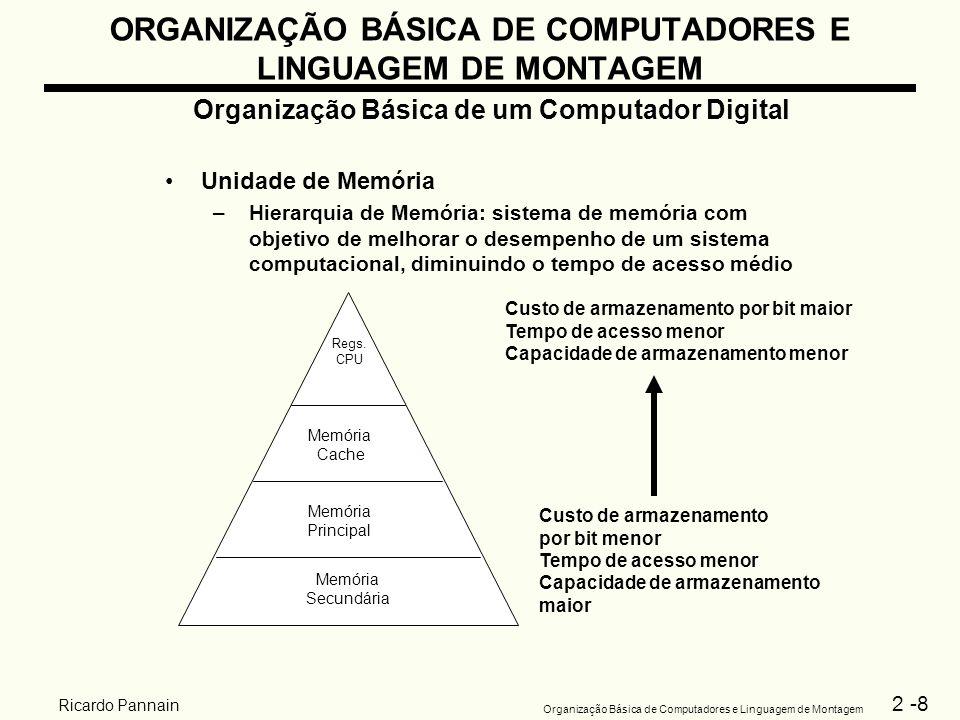 2 -8 Organização Básica de Computadores e Linguagem de Montagem Ricardo Pannain ORGANIZAÇÃO BÁSICA DE COMPUTADORES E LINGUAGEM DE MONTAGEM Organização