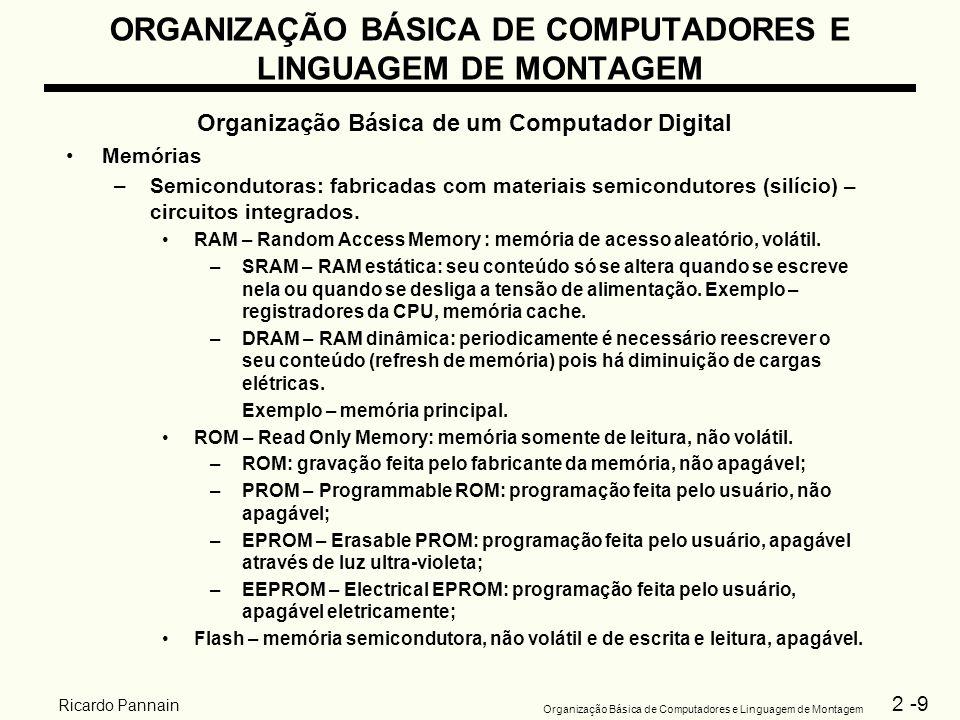2 -9 Organização Básica de Computadores e Linguagem de Montagem Ricardo Pannain ORGANIZAÇÃO BÁSICA DE COMPUTADORES E LINGUAGEM DE MONTAGEM Organização