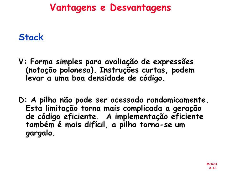 MO401 3.13 Vantagens e Desvantagens Stack V: Forma simples para avaliação de expressões (notação polonesa). Instruções curtas, podem levar a uma boa d