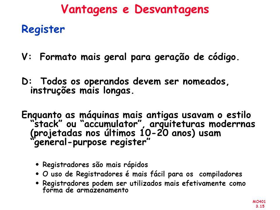 MO401 3.15 Vantagens e Desvantagens Register V: Formato mais geral para geração de código. D: Todos os operandos devem ser nomeados, instruções mais l
