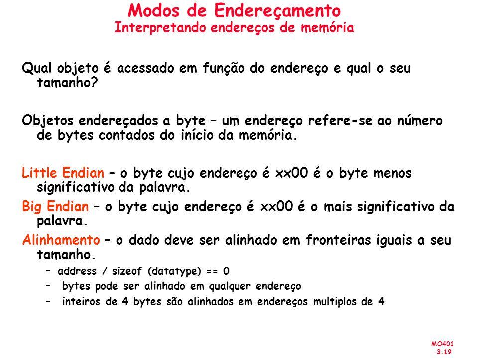 MO401 3.19 Modos de Endereçamento Interpretando endereços de memória Qual objeto é acessado em função do endereço e qual o seu tamanho? Objetos endere