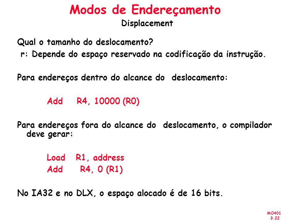 MO401 3.22 Qual o tamanho do deslocamento? r: Depende do espaço reservado na codificação da instrução. Para endereços dentro do alcance do deslocament