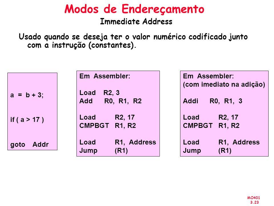 MO401 3.23 Usado quando se deseja ter o valor numérico codificado junto com a instrução (constantes). a = b + 3; if ( a > 17 ) goto Addr Em Assembler: