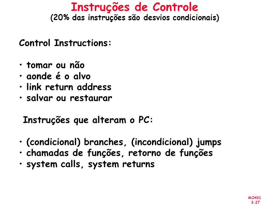 MO401 3.27 Instruções de Controle (20% das instruções são desvios condicionais) Control Instructions: tomar ou não aonde é o alvo link return address
