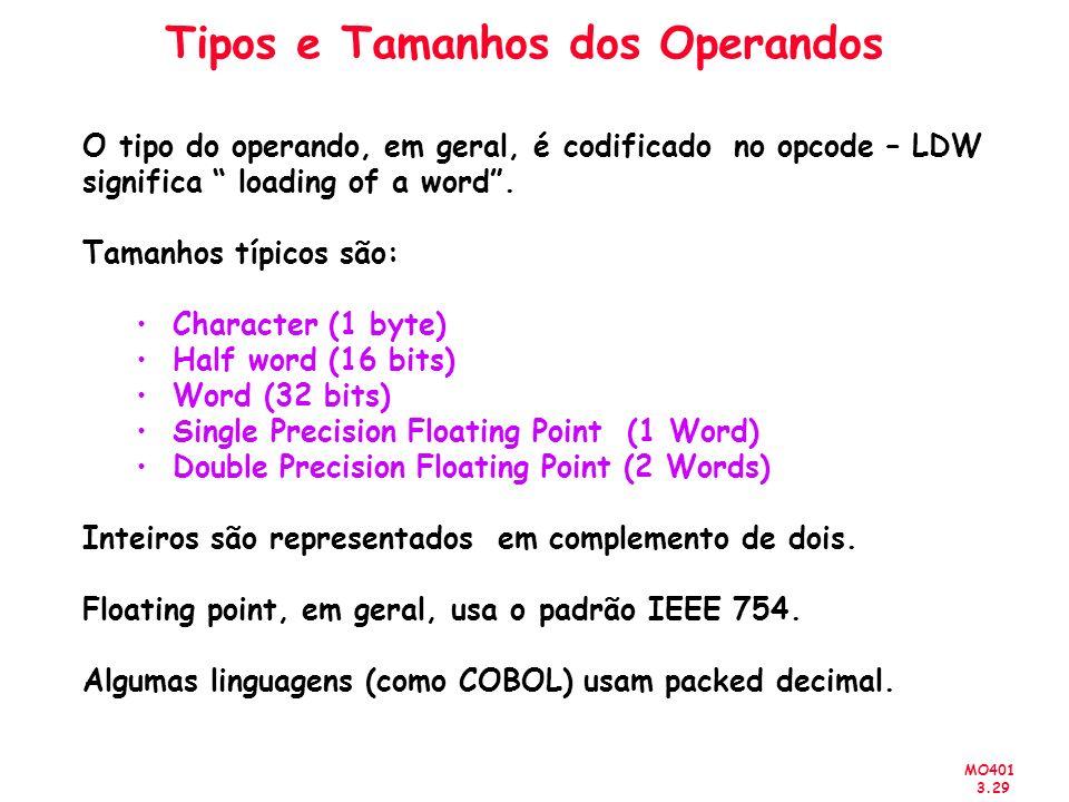 MO401 3.29 Tipos e Tamanhos dos Operandos O tipo do operando, em geral, é codificado no opcode – LDW significa loading of a word. Tamanhos típicos são