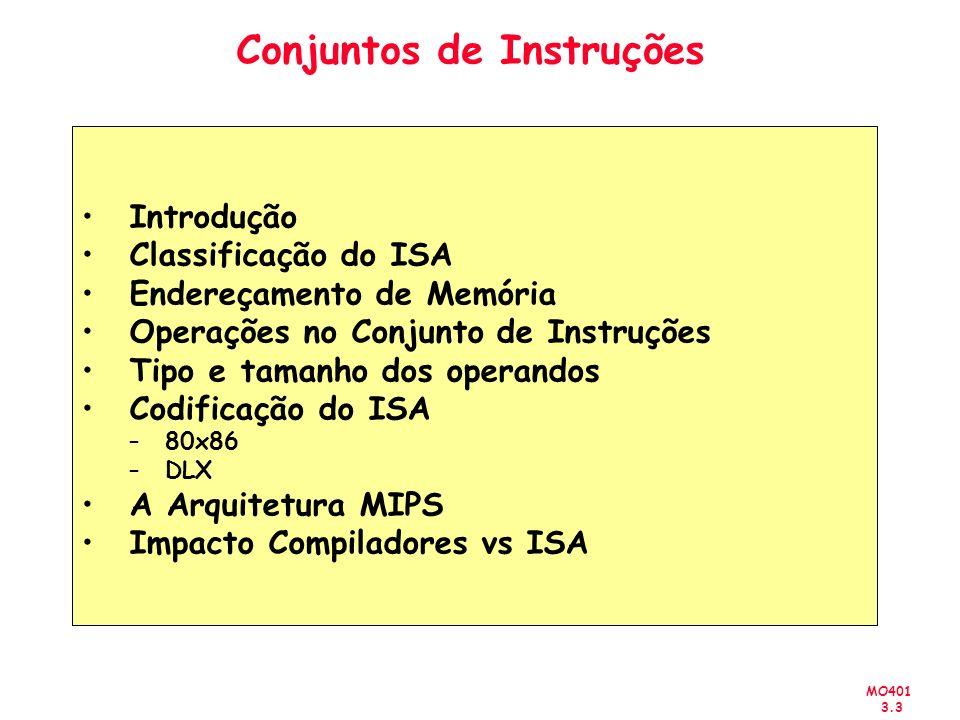 MO401 3.3 Conjuntos de Instruções Introdução Classificação do ISA Endereçamento de Memória Operações no Conjunto de Instruções Tipo e tamanho dos oper