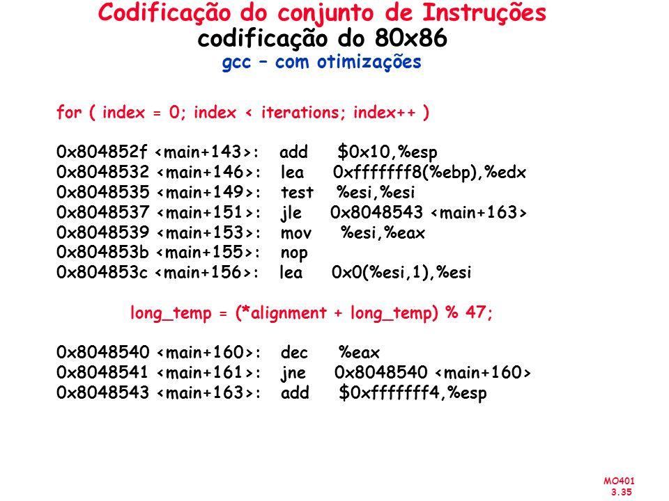 MO401 3.35 Codificação do conjunto de Instruções codificação do 80x86 gcc – com otimizações for ( index = 0; index < iterations; index++ ) 0x804852f :