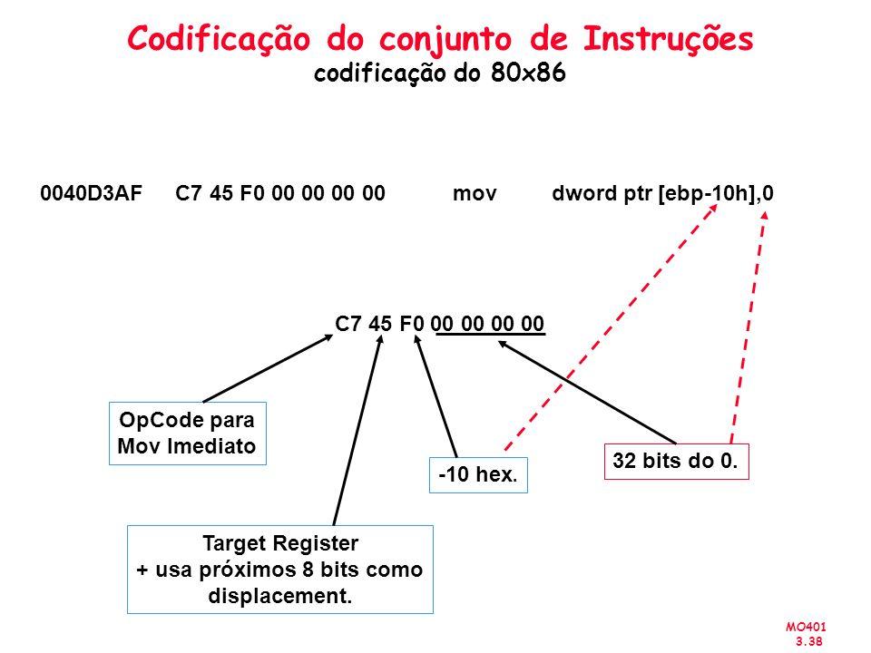 MO401 3.38 Codificação do conjunto de Instruções codificação do 80x86 0040D3AF C7 45 F0 00 00 00 00 mov dword ptr [ebp-10h],0 C7 45 F0 00 00 00 00 OpC