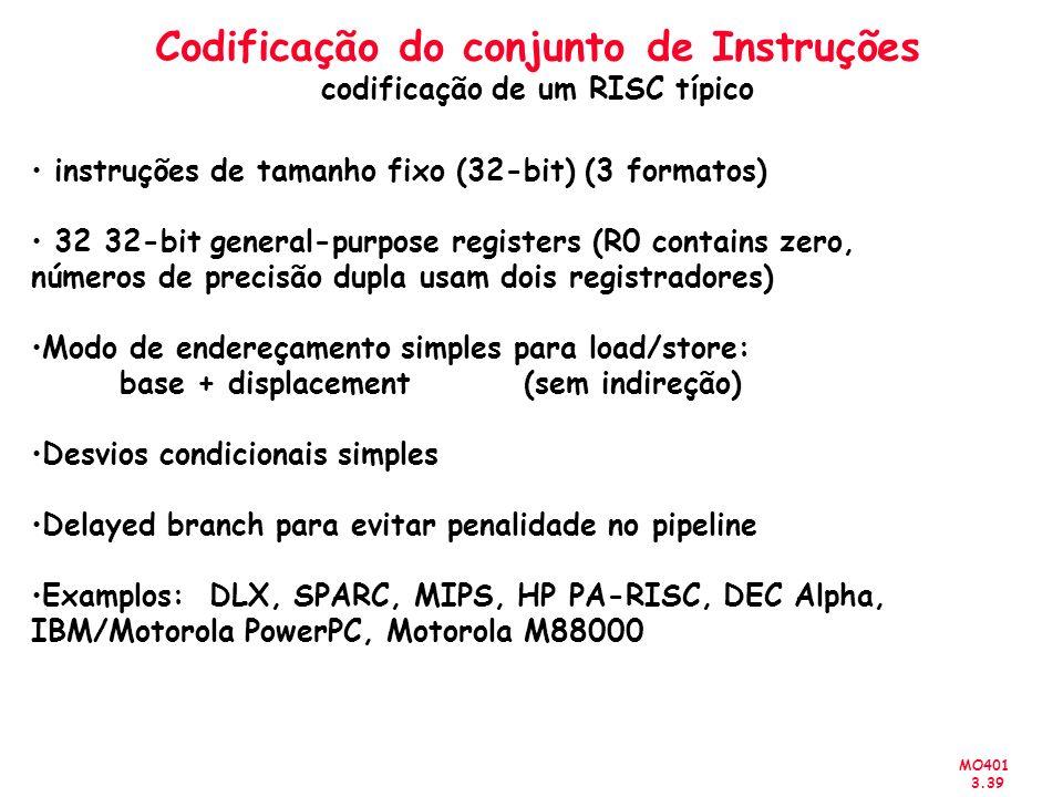MO401 3.39 Codificação do conjunto de Instruções codificação de um RISC típico instruções de tamanho fixo (32-bit) (3 formatos) 32 32-bit general-purp