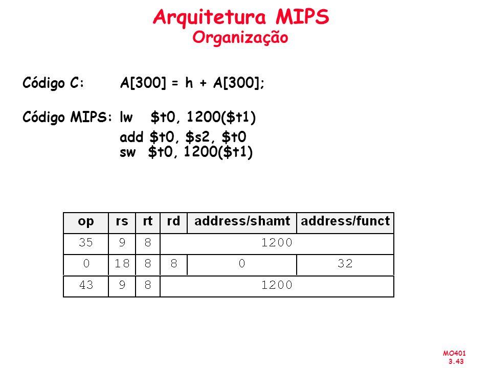 MO401 3.43 Arquitetura MIPS Organização Código C:A[300] = h + A[300]; Código MIPS:lw $t0, 1200($t1) add $t0, $s2, $t0 sw $t0, 1200($t1)