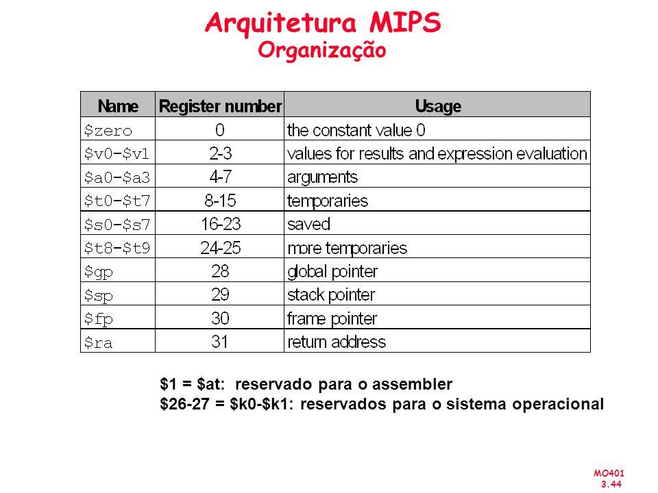 MO401 3.44 Arquitetura MIPS Organização $1 = $at: reservado para o assembler $26-27 = $k0-$k1: reservados para o sistema operacional