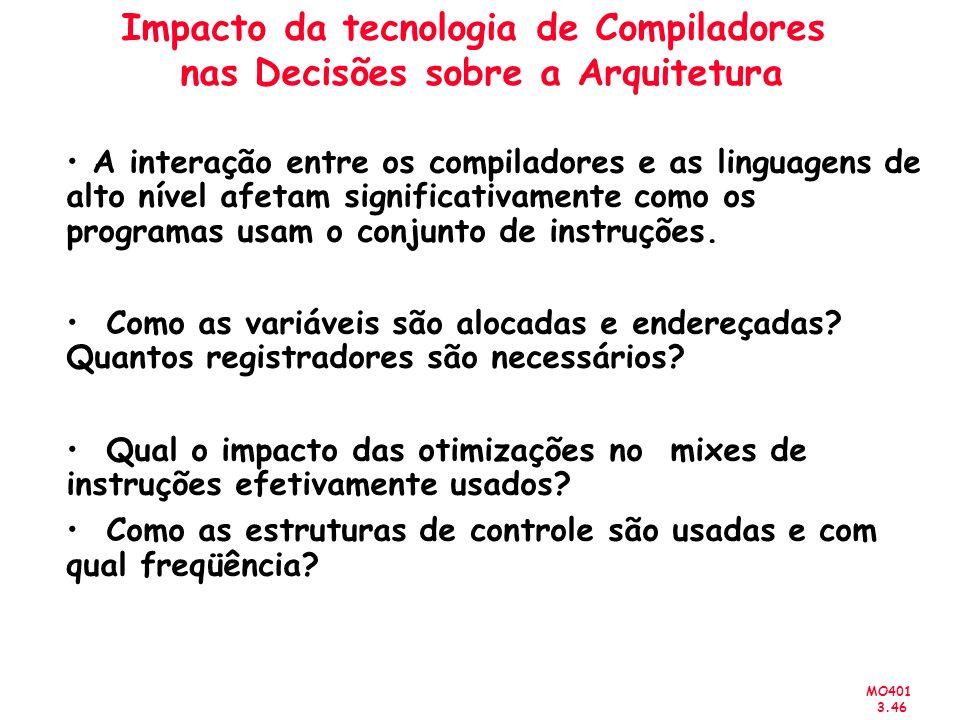 MO401 3.46 Impacto da tecnologia de Compiladores nas Decisões sobre a Arquitetura A interação entre os compiladores e as linguagens de alto nível afet