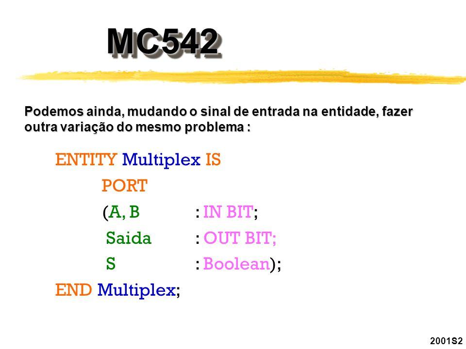 2001S2 MC542MC542 Podemos ainda, mudando o sinal de entrada na entidade, fazer outra variação do mesmo problema : ENTITY Multiplex IS PORT (A, B: IN B