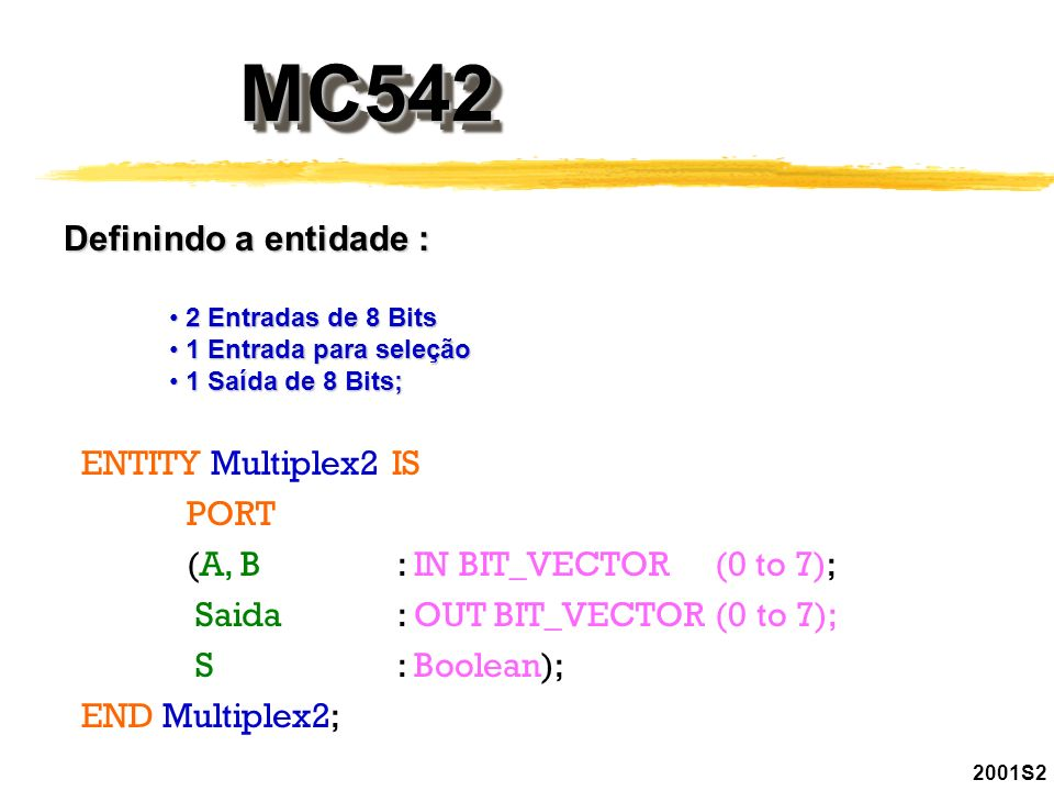 MC542MC542 2001S2 Definindo a entidade : 2 Entradas de 8 Bits 2 Entradas de 8 Bits 1 Entrada para seleção 1 Entrada para seleção 1 Saída de 8 Bits; 1