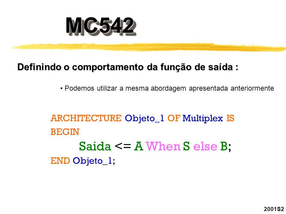 MC542MC542 2001S2 Definindo o comportamento da função de saída : Podemos utilizar a mesma abordagem apresentada anteriormente ARCHITECTURE Objeto_1 OF