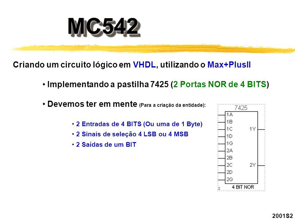 MC542MC542 2001S2 Criando um circuito lógico em VHDL, utilizando o Max+PlusII Implementando a pastilha 7425 (2 Portas NOR de 4 BITS) Devemos ter em me