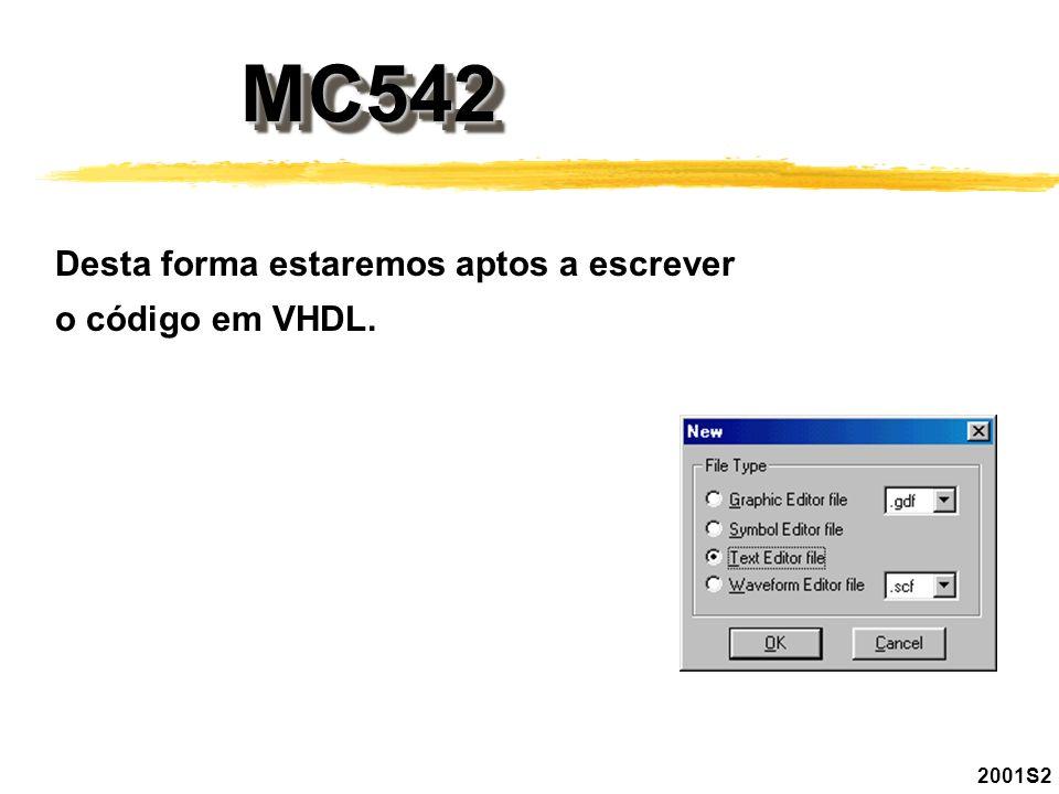 MC542MC542 2001S2 Desta forma estaremos aptos a escrever o código em VHDL.