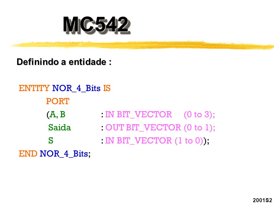 MC542MC542 2001S2 Definindo a entidade : ENTITY NOR_4_Bits IS PORT (A, B: IN BIT_VECTOR (0 to 3); Saida : OUT BIT_VECTOR (0 to 1); S : IN BIT_VECTOR (