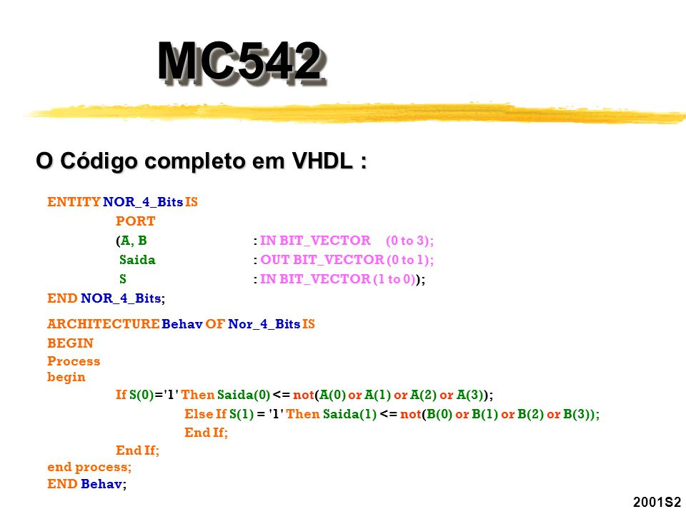 MC542MC542 2001S2 O Código completo em VHDL : ENTITY NOR_4_Bits IS PORT (A, B: IN BIT_VECTOR (0 to 3); Saida : OUT BIT_VECTOR (0 to 1); S : IN BIT_VEC