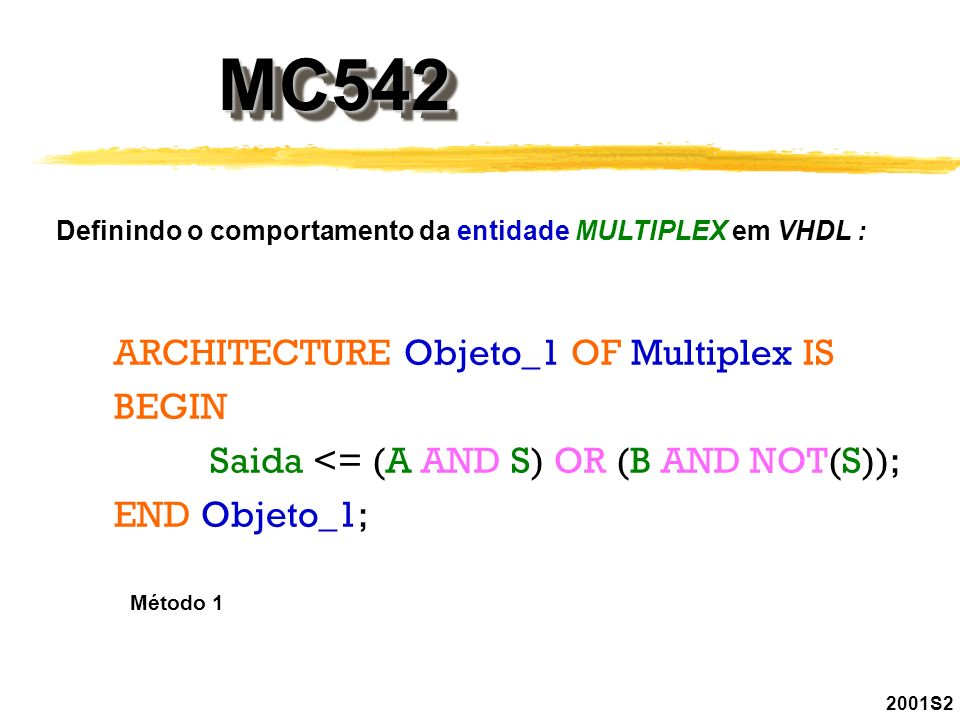 MC542MC542 2001S2 Definindo o comportamento da entidade MULTIPLEX em VHDL : ARCHITECTURE Objeto_1 OF Multiplex IS BEGIN Saida <= (A AND S) OR (B AND N
