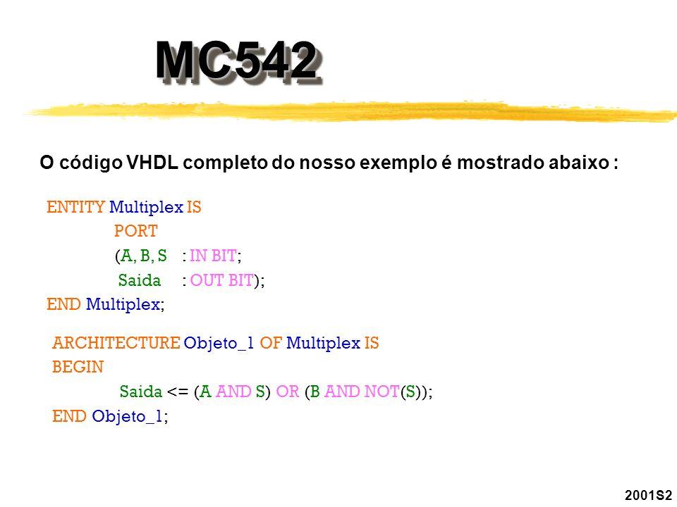 2001S2 MC542MC542 O código VHDL completo do nosso exemplo é mostrado abaixo : ENTITY Multiplex IS PORT (A, B, S: IN BIT; Saida : OUT BIT); END Multipl