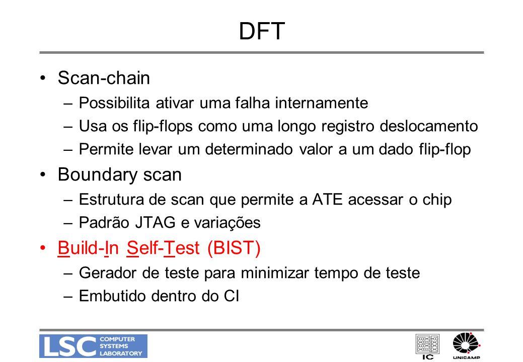 DFT Scan-chain –Possibilita ativar uma falha internamente –Usa os flip-flops como uma longo registro deslocamento –Permite levar um determinado valor