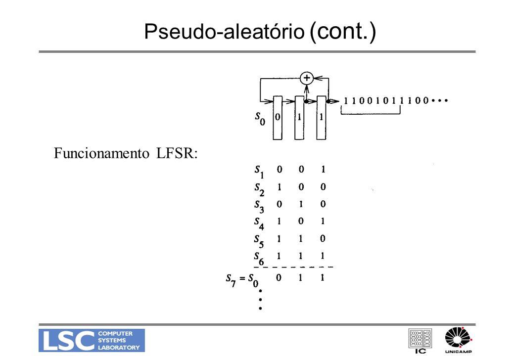 Pseudo-aleatório (cont.) Funcionamento LFSR:
