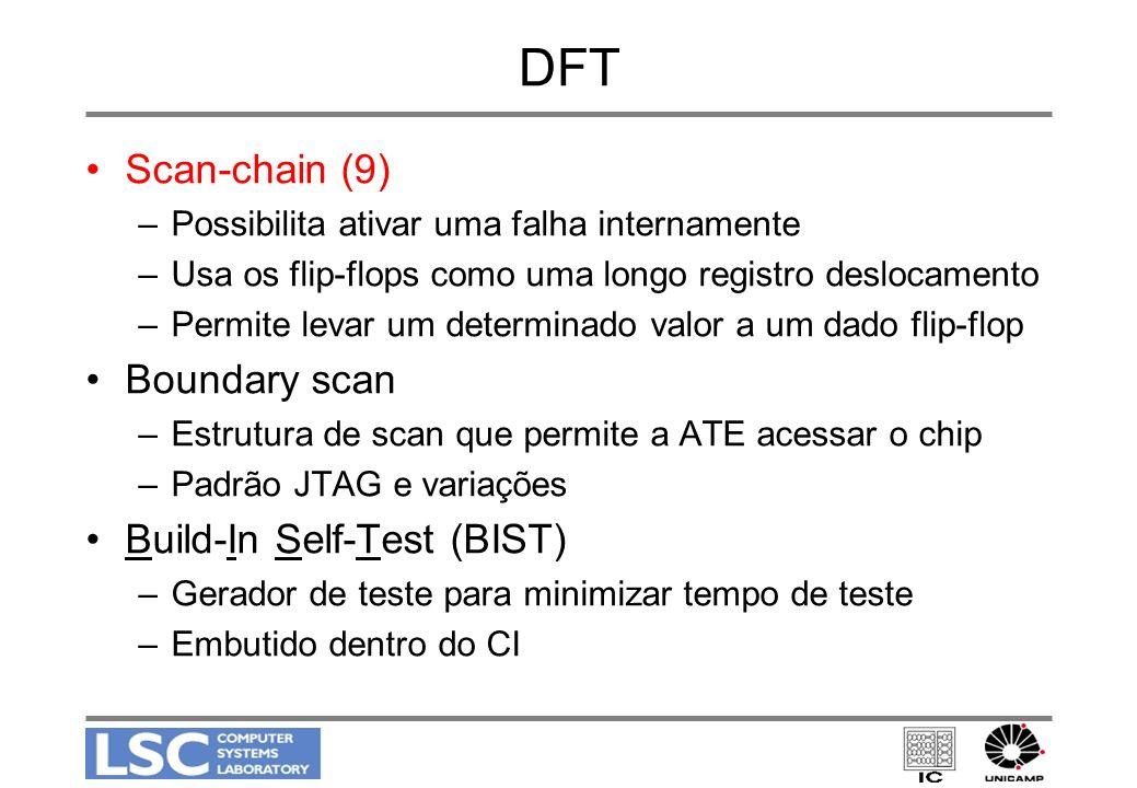 DFT Scan-chain (9) –Possibilita ativar uma falha internamente –Usa os flip-flops como uma longo registro deslocamento –Permite levar um determinado va