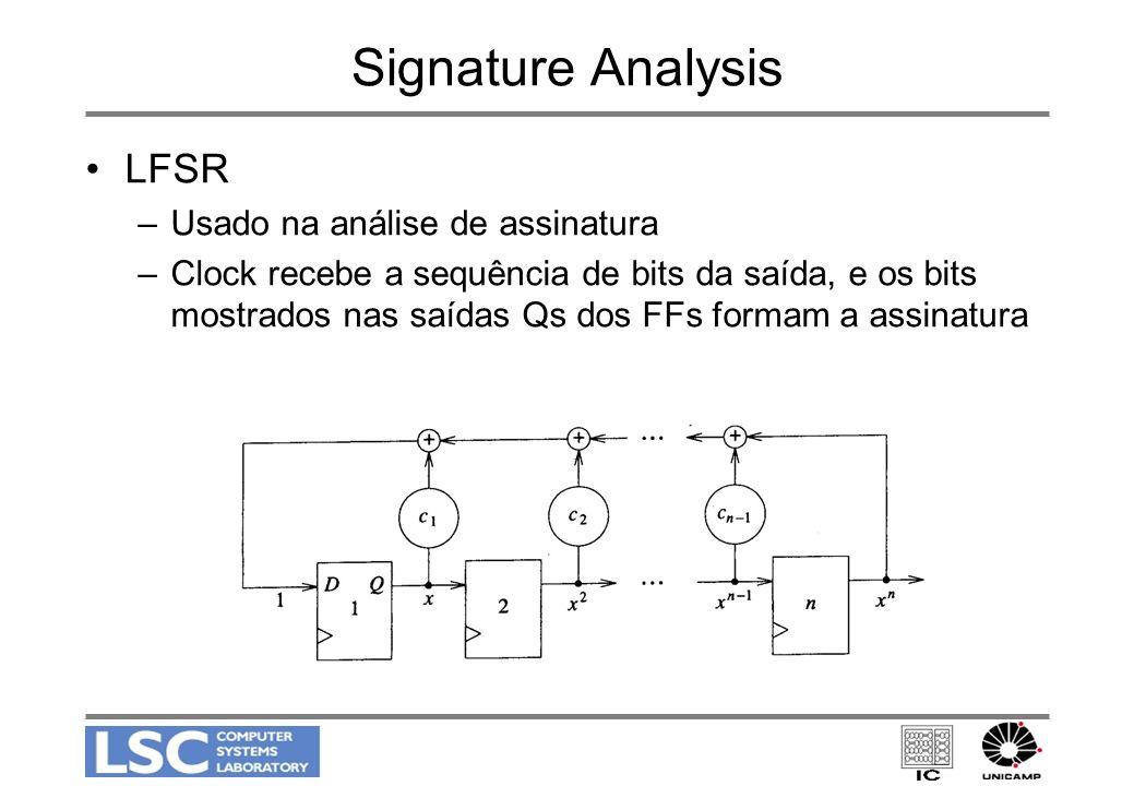 Signature Analysis LFSR –Usado na análise de assinatura –Clock recebe a sequência de bits da saída, e os bits mostrados nas saídas Qs dos FFs formam a