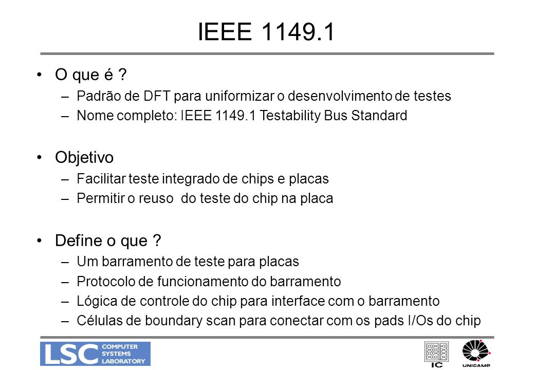 IEEE 1149.1 (cont.) Test Data Input Test Mode Signal Test Clock Test Data Output