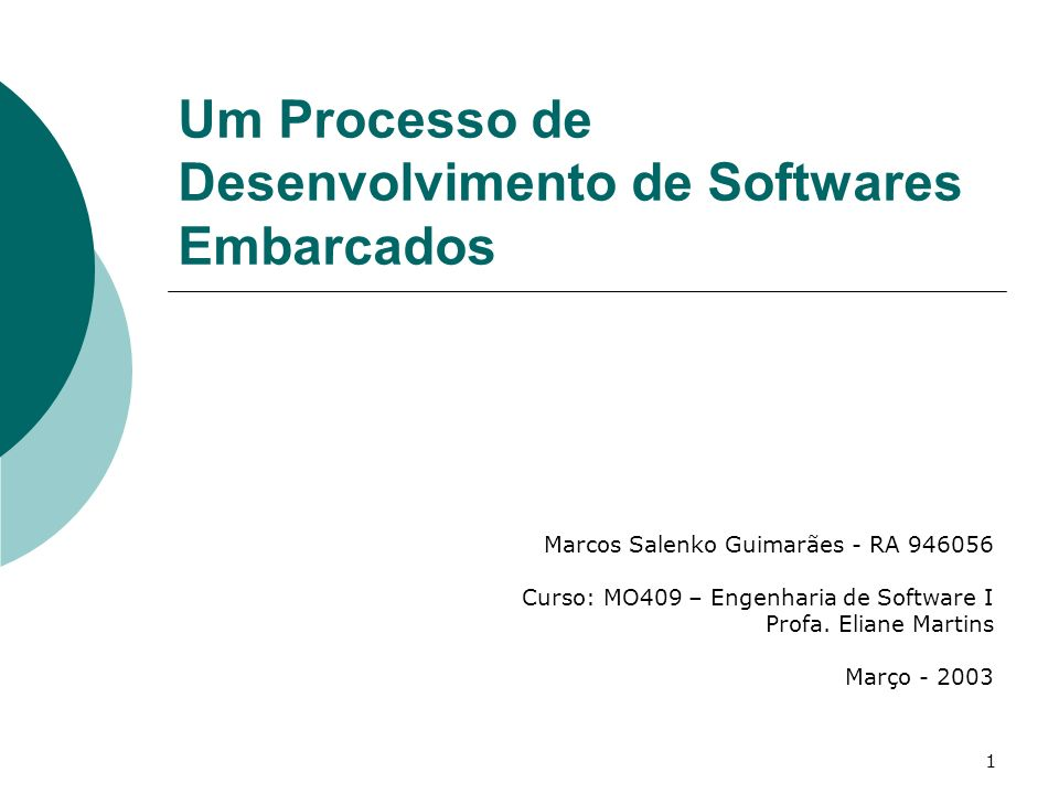 1 Marcos Salenko Guimarães - RA 946056 Curso: MO409 – Engenharia de Software I Profa.
