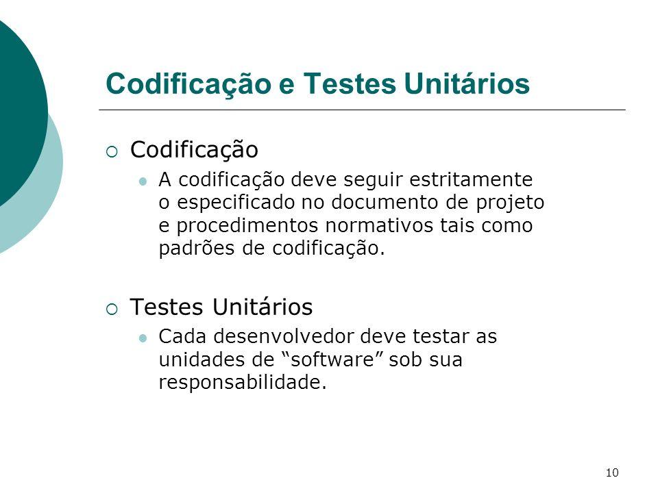 10 Codificação e Testes Unitários Codificação A codificação deve seguir estritamente o especificado no documento de projeto e procedimentos normativos tais como padrões de codificação.