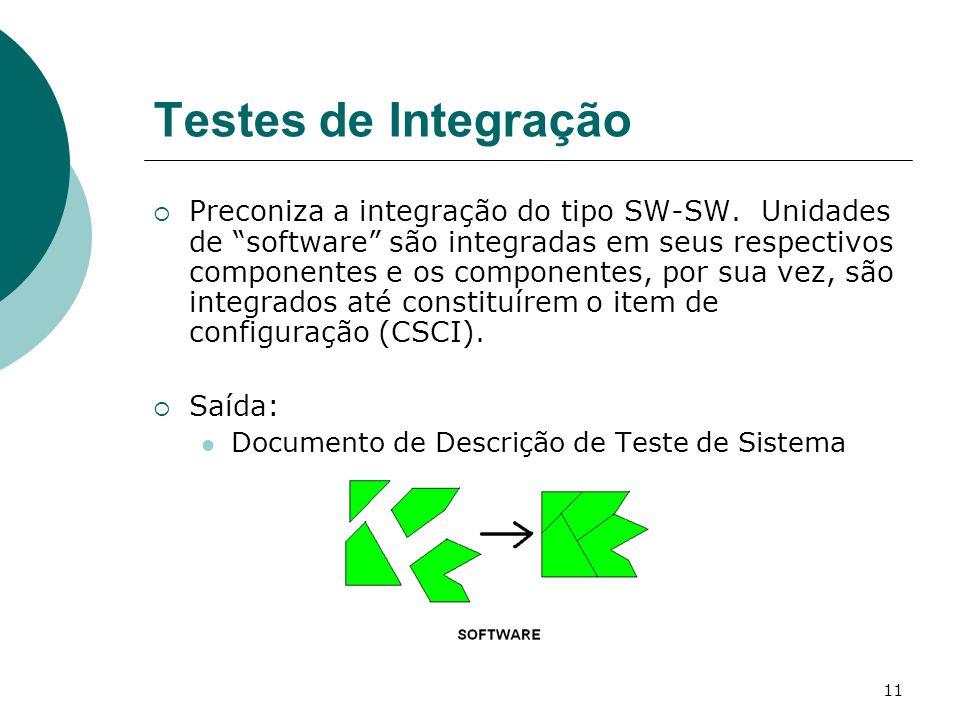 11 Testes de Integração Preconiza a integração do tipo SW-SW.