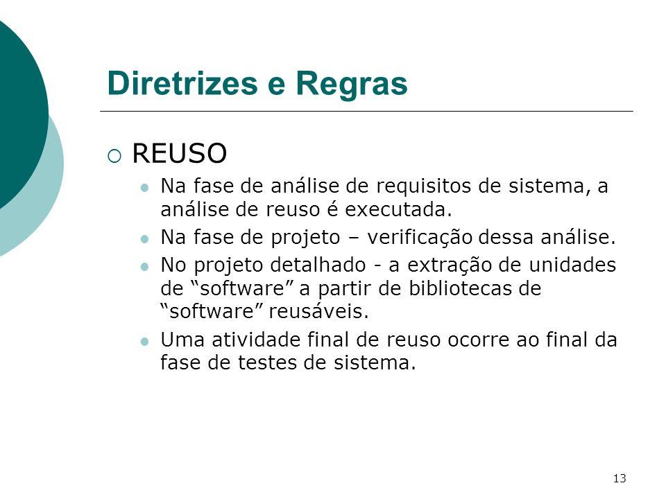 13 Diretrizes e Regras REUSO Na fase de análise de requisitos de sistema, a análise de reuso é executada.