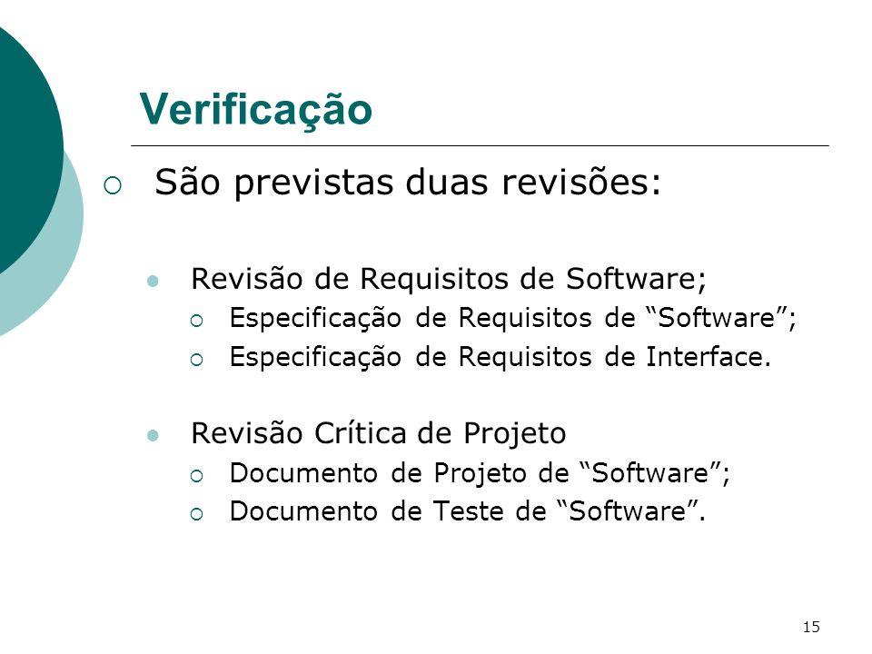 15 Verificação São previstas duas revisões: Revisão de Requisitos de Software; Especificação de Requisitos de Software; Especificação de Requisitos de Interface.