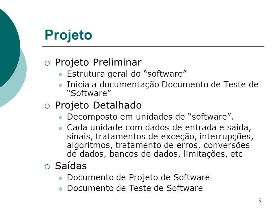 9 Projeto Projeto Preliminar Estrutura geral do software Inicia a documentação Documento de Teste de Software Projeto Detalhado Decomposto em unidades de software.