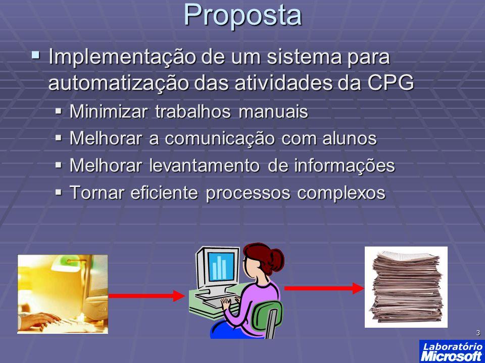 4 Infra-estrutura considerada Sistema web Sistema web Microsoft IIS Microsoft IIS ASP.NET (C#) ASP.NET (C#) MS SQL Server MS SQL Server MS Sharepoint * MS Sharepoint *