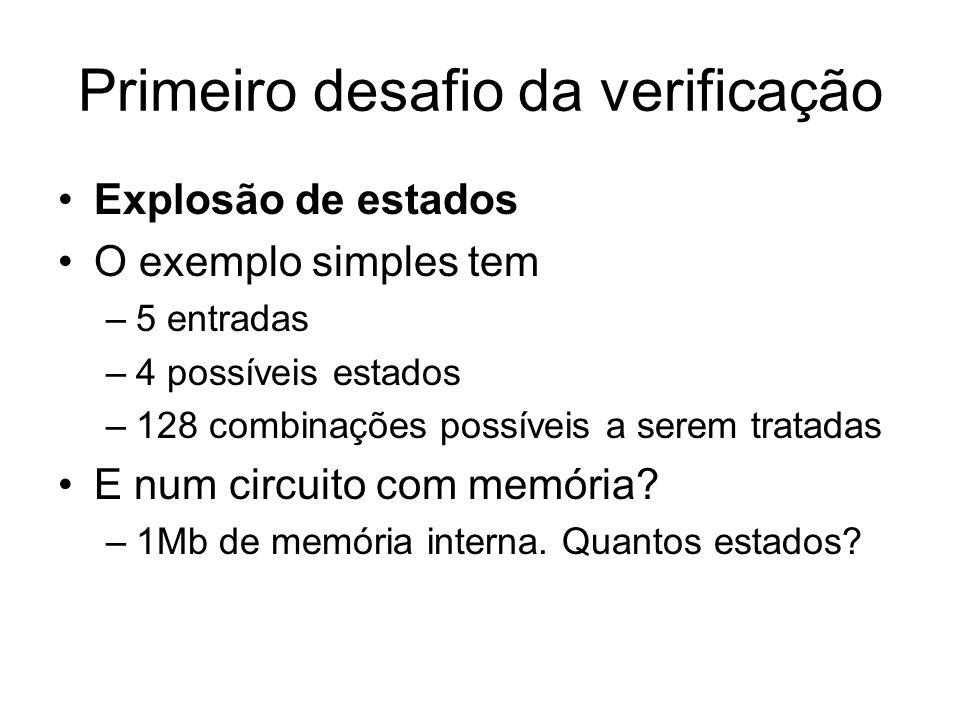 Primeiro desafio da verificação Explosão de estados O exemplo simples tem –5 entradas –4 possíveis estados –128 combinações possíveis a serem tratadas