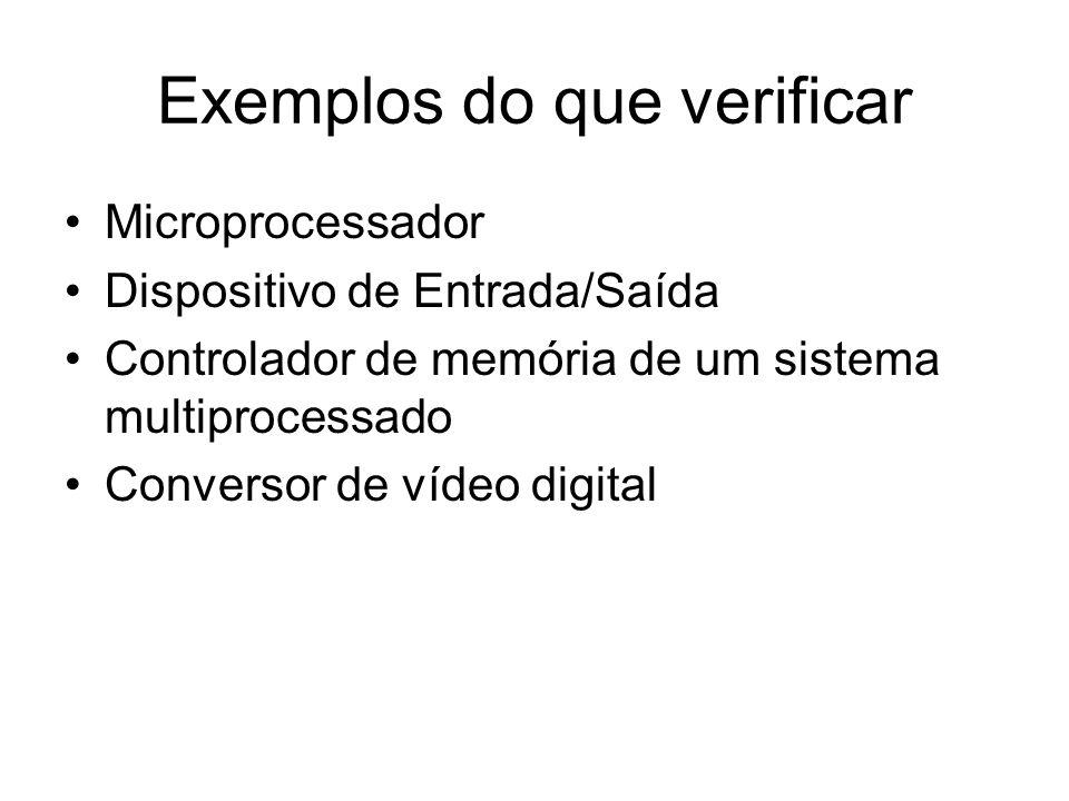 Exemplos do que verificar Microprocessador Dispositivo de Entrada/Saída Controlador de memória de um sistema multiprocessado Conversor de vídeo digita