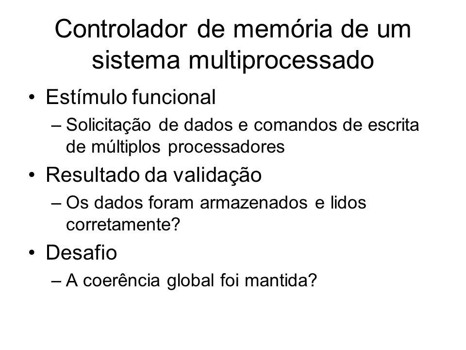 Controlador de memória de um sistema multiprocessado Estímulo funcional –Solicitação de dados e comandos de escrita de múltiplos processadores Resulta