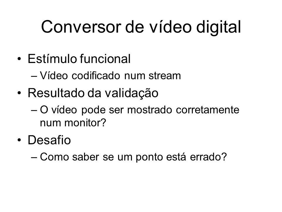 Conversor de vídeo digital Estímulo funcional –Vídeo codificado num stream Resultado da validação –O vídeo pode ser mostrado corretamente num monitor?