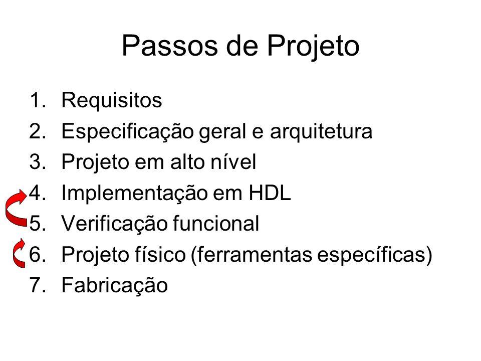 Passos de Projeto 1.Requisitos 2.Especificação geral e arquitetura 3.Projeto em alto nível 4.Implementação em HDL 5.Verificação funcional 6.Projeto fí