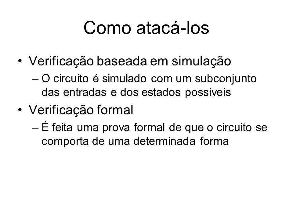 Como atacá-los Verificação baseada em simulação –O circuito é simulado com um subconjunto das entradas e dos estados possíveis Verificação formal –É f